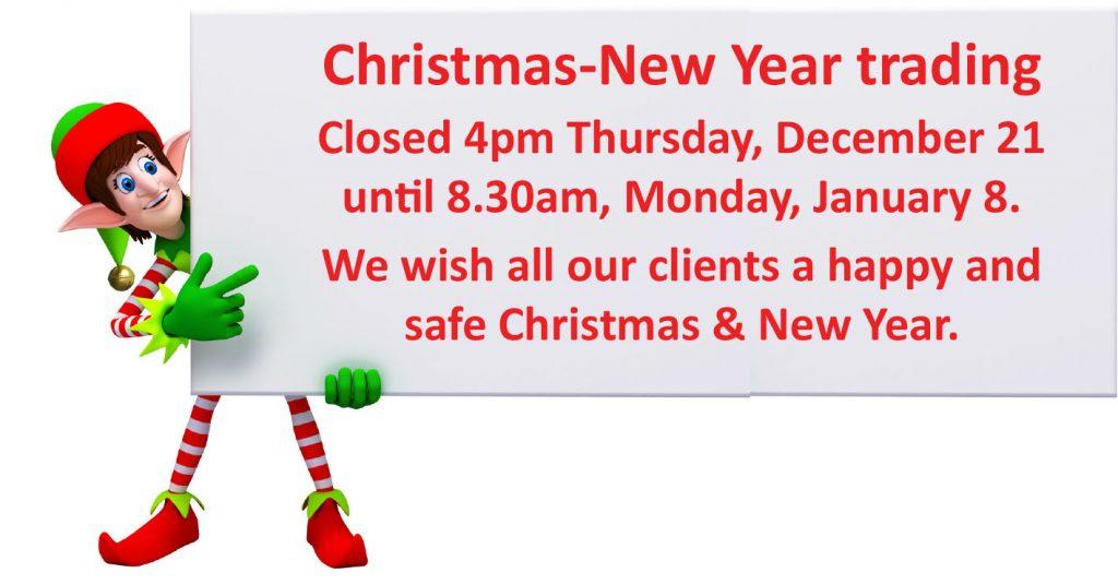 Christmas closure times